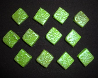 Lot of 12 Square Green Polymer Clay Beads