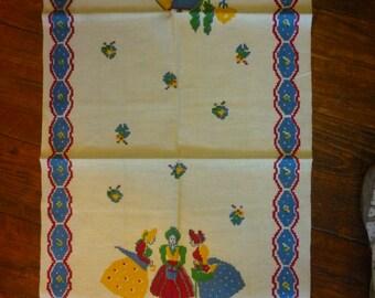 Vintage Startex Linen Cotton Blend Tea Towel, Ladies & Dog, Sawmill, NOS