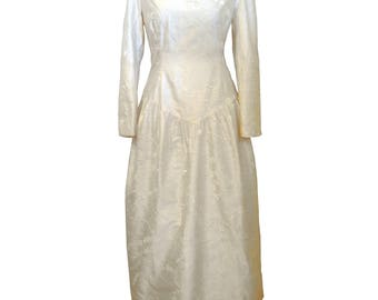 Long drop-waist dress in off-white embroidered dupioni silk w/ long sleeve, sweetheart neck