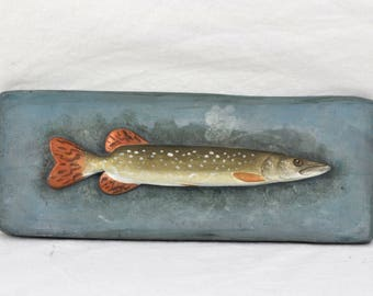 Modern Fish Wall Hanging Plaque Signed Mid Century Carving Sculpture Art Vintage