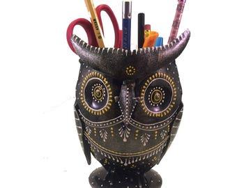 Owl Pencil Holder Cup – Hand Painted Metal Owl - Art Decor – Unique Desk Accessory – Pen Organizer