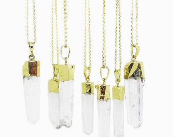 Clear quartz crystal pendant necklace on 14k gold filled chain