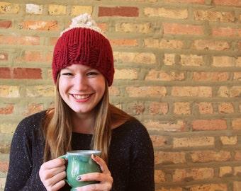 Half and Half Hat - Hand Knit Ski Hat with Pom Pom - Customize 12 Colors!