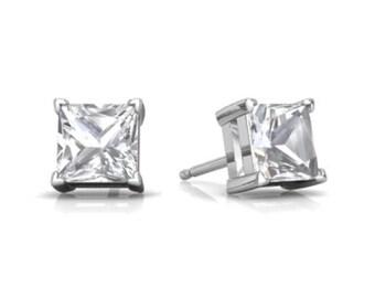 White Gold White Topaz Princess Cut Stud Earrings .925 Sterling Silver