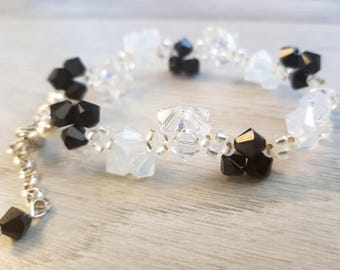 Gorgeous Bracelet | White, black Swarovski crystals