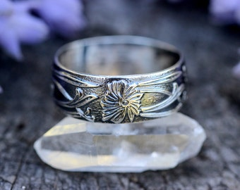 Sterling Silver Stacking Ring Art Nouveau Ring Silver Stacking Rings Silver Stackable Rings Sterling Silver Flower Ring Dandelion Ring