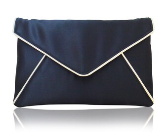 Navy and ivory satin envelope Katerina clutch purse, bridesmaids, mother of the bride