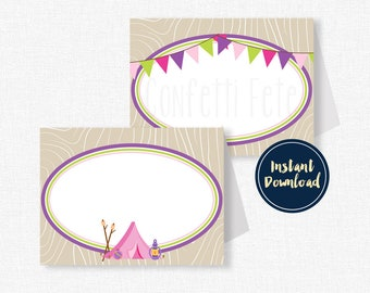 Glamping Buffet Cards, Place Cards, Glam Camping Food Labels, Camp Party Decorations, Glamping Birthday, Printable INSTANT DOWNLOAD