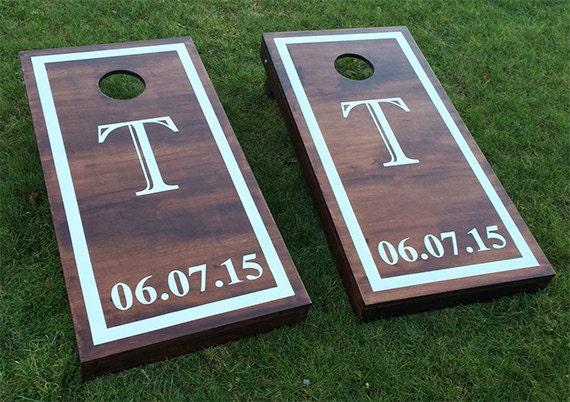 Custom Monogram Wedding Cornhole Boards Wood Stain Custom
