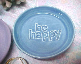 Small Pottery Dish, Ceramic Spoon Rest, Tea Bag Holder, Dipping Bowl, Stamped BE HAPPY, Deep Sky Blue Glaze