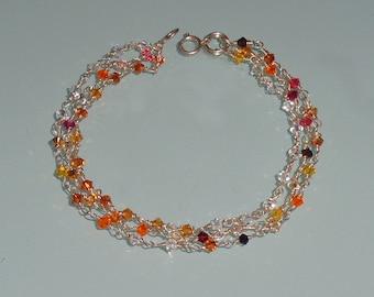 Swarovski Sterling Silver Three Strand Crystals Bracelet