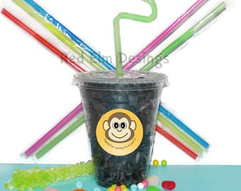 Money Cups, Monkey Party Cups, Kids Birthday Party Cups, 20 Cups, Zoo Kids Party Cups, Straws and Lids, 12 Ounce Cups