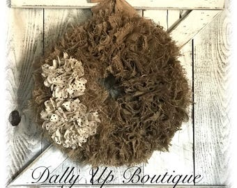 Wreath, Natural  Burlap Wreaths, Wreath for All Year, everyday wreath, wreath decor, burlap decor, rustic wreath
