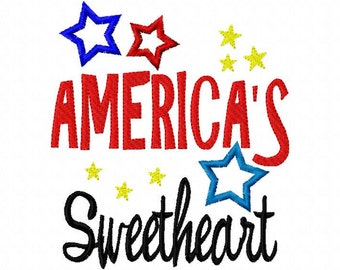 America's Sweetheart Applique Design 4th fourth of July