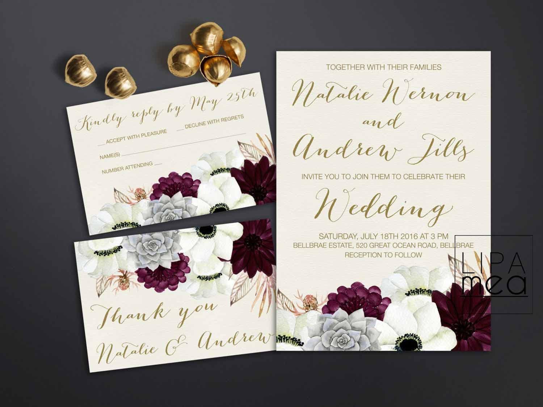 Bridal Wedding Invitations: Printable Wedding Invitation Floral Wedding Invitation Set