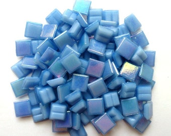 100 Mini Light Blue Iridescent Vitreous Glass Tiles 3/8 in. 10mm/Mosaic Supplies/Mosaic Pieces/Light Blue