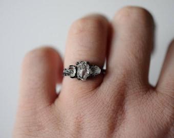 engagement ring, raw diamond, boho engagement ring, rough diamond ring, raw black diamond ring, Size 8 ring, raw gemstone jewelry, uncut