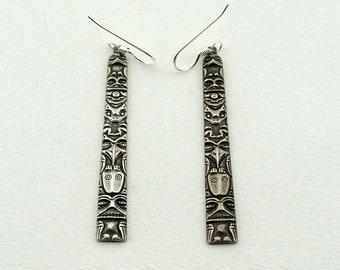 Long Vintage 'Totem Pole' Sterling Silver Earrings FREE SHIPPING!  #TOTEM-EGR3