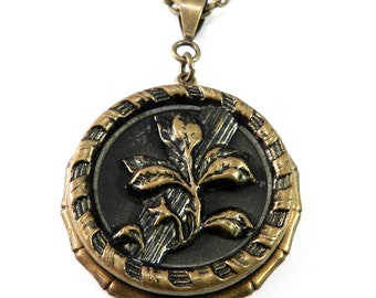 Antique Button Necklace - Victorian Botanical Button - Vintage Button Jewelry by Compass Rose Design