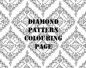 Diamond Pattern Detailed Printable Colouring Page