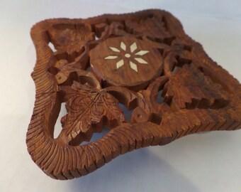 Vintage Wooden Carved Trivet India