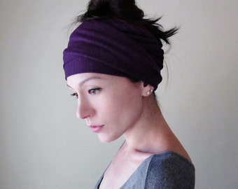 EGGPLANT Head Scarf, Purple Hair Wrap, Yoga Headband, Gift Women, Extra Wide Jersey Headband, Headbands for Women, Bohemian Violet Head Wrap