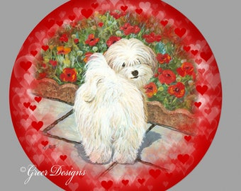 Havanese Valentine Hearts Red Poppy ThermoSaf 10 inch Art Plate