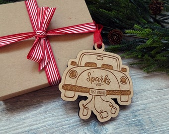 Just Married Ornament Personalized - First Christmas Married Ornament - Christmas Ornament Personalized - Christmas Gift for Couple