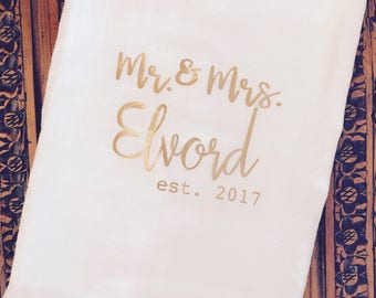 Monogrammed farmhouse flour sack tea towel,  rose gold towel, gold towel, personalized kitchen towel, wedding gift, anniversary gift