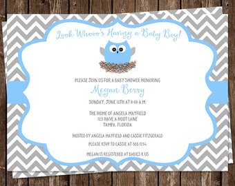 Owl, Baby Shower Invitations, Boys, Blue, Gray, Grey, Chevron, Stripes, Feather, Nest, 10 Printed Invites, FREE Shipping, Customizable