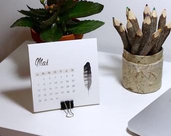 Mini calendar 2018. Feathers