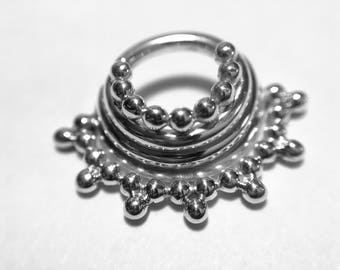 Silver Quad Stacked Beaded Septum Ring - Piercing - Hoop - Conch - Helix - Cartilage - Nickel Free Sterling Silver