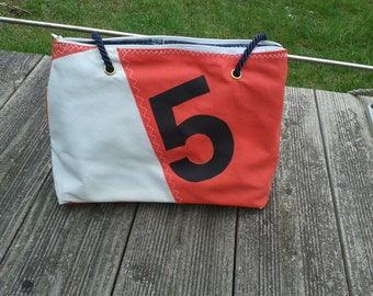 Dinghy red and white recycled sail bag