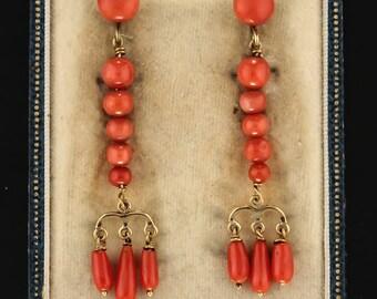 Georgian natural coral drop earrings