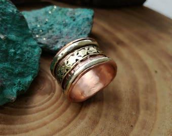 Silver copper ring, Silver brass and copper ring, Wedding silver  copper ring, Copper men ring, Rustic copper men ring,Unique rustic ring,