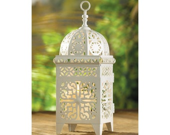 Decorative White Scrollwork Candle Lantern