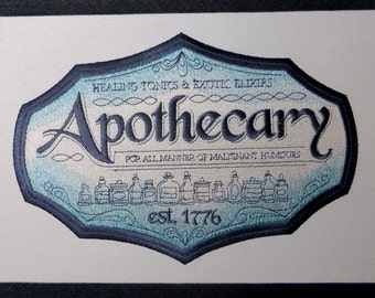 Steampunk /Victorian Embroidered Apothecary Wall Hanging Sign