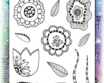 Flower Stamp, Crazy Flowers #1, Rubber Dance Stamp