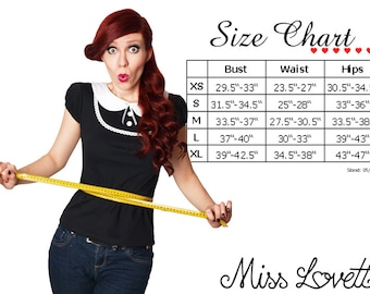 MISS LOVETT Size Chart XS-L
