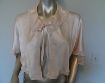 Vintage 1940's Silk Bed Jacket* Peach Color . Size Small . Ribbons & Lace . Forties Lingerie . WW II Bed Jacket . Vintage Glamour Lingerie