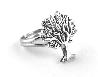 Silver Tree Ring - Tree of Life Ring - Adjustable Silver Ring - Tree Jewlery - Tree Jewelry - Silver Nature Ring