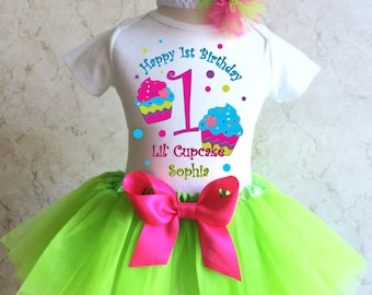 Rainbow Cupcakes Birthday Shirt & Green Tutu Pink bow Outfit Girl Set first 1st 2nd 3rd 4th 5th 6th 7th Personalized Custom Name Age