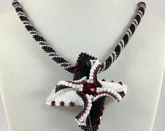 Black and White Beadwoven Pendant Necklace...EBW Team