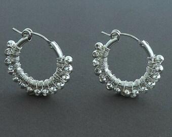 Wire Wrap Silver Hoop Earrings, Medium Hoop Earrings, Women Jewelry, Delicate Earrings, Wife Gift, Gift For Her