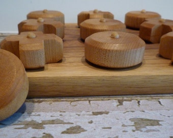 Toy Tic Tac Toe Game - Handcrafted Walnut Base Toy Tic Tac Toe Game or Hugs and Kisses - Family Game Room Game - Party Table Game