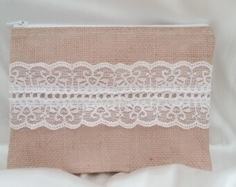 Burlap And Lace Clutch - Burlap Makeup Bag - Burlap Clutch - Burlap Bridesmaid Gift - Burlap Wedding Clutch - Rustic Burlap Clutch