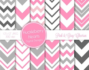 Pink and Gray Chevron Digital Scrapbook Paper, Chevron Background