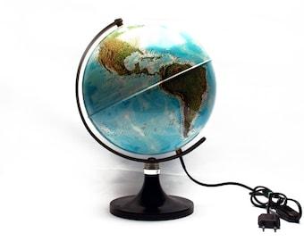 Vintage 1970's illuminated world globe, Planet Earth, In French language