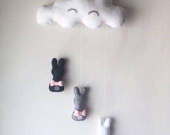 Wall hanging / baby mobile / cloud mobile / rabbits / cloud /.