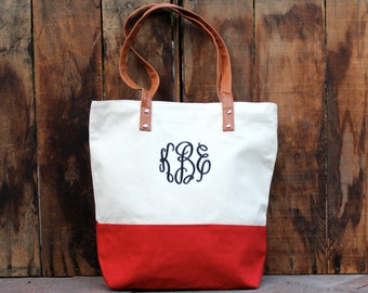 Personalized Canvas Striped Tote Bag -  Red Canvas Tote Bag